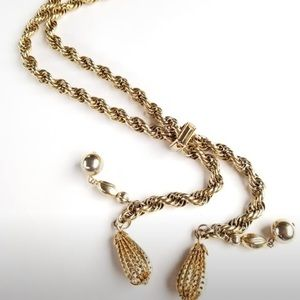 Vintage gold rope beaded lariet Necklace